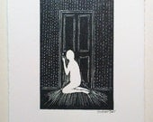 Ghost at the door - miniature wood engraving print