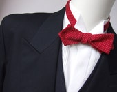 """Diamond point Bow tie,  mans, red with pin dots - cotton print - adjustable to collar size 14 to 18 1/2"""" -  self-tie for men."""