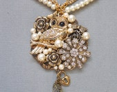 Owl necklace, Steampunk necklace, collage necklace, gold, rhinestone, vintage, pearl, Victorian, brooch, assemblage