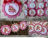 Fabulous Mini Birthday Party Package -Gingerbread Girl -Baby Shower -Birthday-Banner -Tags -Cupcake Toppers -Party Sign -Gingerbread House