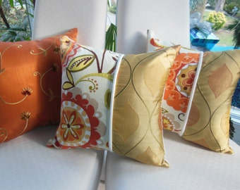 Orange Pillow Sunset Dreams Collection - Designer Pillows -  Two 20 x 20 Inch Three 15 x 15 Inch -  Sunset Orange, Cream, Sunshine Yellow