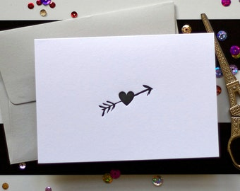 Love / Valentine / Anniversary/ Cupid's Arrow and Heart Brush Stroke Letterpress Card