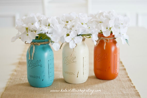 set of 3 quart size painted ball mason jars teal cream burnt. Black Bedroom Furniture Sets. Home Design Ideas
