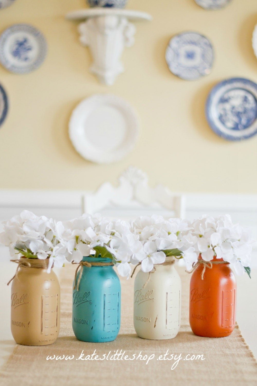 set of 4 quart size painted mason jars tan teal cream burnt