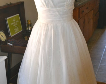 Vintage 1950's Off White Wedding / Rehearsal / Reception Dress with modern updates- REDUCED PRICE!