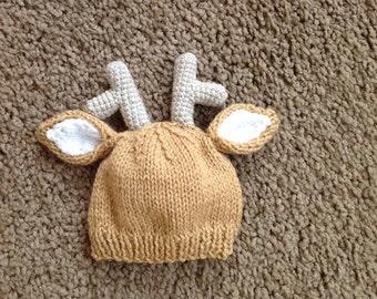 newborn photo prop, deer newborn/ baby hat, newborn props, newborn girl, newborn boy, newborn knit hat, newborn hat, deer  baby hat