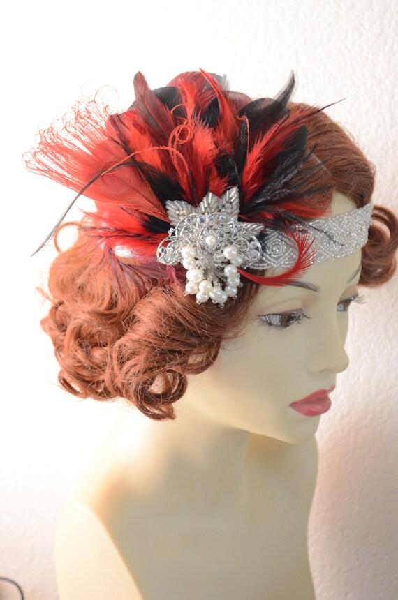 READY TO SHIP, Black and Red feather headband,gatsby headpiece,1920s headband,Flapper, Black feathers, beaded rhinestone headband