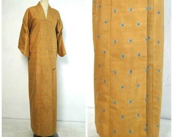 Silk Ikat Kimono. Japanese Lined Robe. Mustard Gold Blue Squares (Ref: 005)