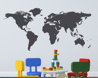 World Map Wall Decal - Bedroom, Playroom, Classroom Wall Decor for Kids or Adults - WD0284
