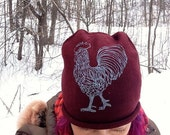 ra ra Rooster Hat, Beanie, Printed Hat, Winter Hat