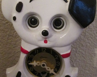 Vintage Linden  Animated Clock.  Plastic Dalmation Animated Clock Made in Japan.  Y-007