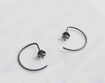 Minimalist shape oxidized silver earrings Simple 7