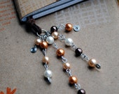 Pearl Bookmark Beaded Leather Book Thong Golden Brown Holiday Reading Teacher Gift
