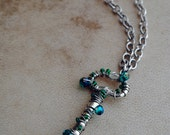 Teal Skeleton Key Necklace Silver Pendant Jewelry Sparkle Beaded Renaissance Jewelry