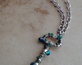 Teal Skeleton Key Necklace Silver Pendant Jewelry Sparkle Beaded Renaissance Jewelry