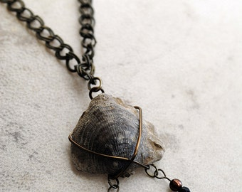 Fossil Necklace Beaded Brachiopod Pendant Pearl Jewelry Bronze Chain Tribal Natural History