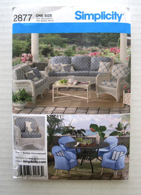 Patio Chair Cover And Cushion Pattern Simplicity 2877 Resin