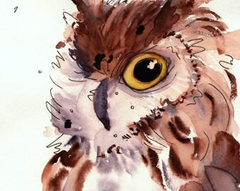 8x10inch Woodland Art Print, Fine Art Owl Print, Nursery Art
