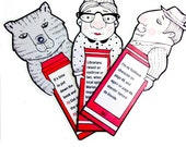 SALE! Packet of THREE LAMINATED Whimsical Illustrated Flat Laminated Bookmarks