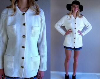 vintage 60s cream MILITARY ribbed knit MOD CARDIGAN Extra Large pockets sweater retro boho jumper
