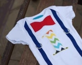 """First Birthday Shirt Bodysuit Rainbow Chevron Red and Royal Blue Print Little Man Primary Colors Baby Boy """"1"""""""