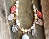 """Aquamarine pendant necklace with cherry and pink quartz tourmaline yellow and white jade crystals on silver chain 18"""""""