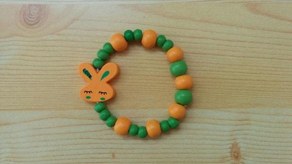 Girl bracelet, children bracelet, kids bracelet,bunny bracelet,wood bracelet,beaded bracelet,kids jewelry,girl jewelry,wooden bracelet