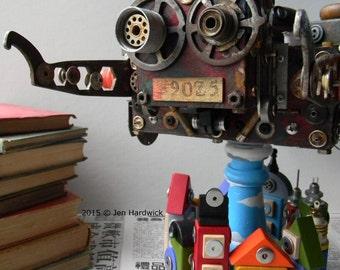 Recycled Art - S.U.P.E.R.M.A.N. - 3D Assemblage - Robot Art - Mixed Media by Jen Hardwick