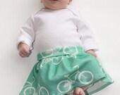 Baby Bike Skirt, Organic Cotton Knit. Infant Skirt, Foldover Waist, Bicycle Yoga Skirt 0 3 6 0 12 Months.  You choose color!