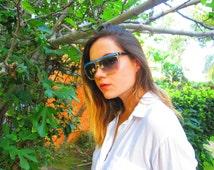 Vintage Laura  Biagiotti Sunglasses / Turquoise Black Clear Gorgeous