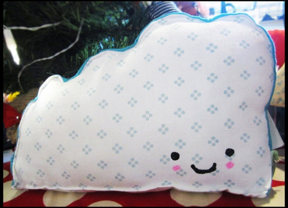 HAPPY CLOUD Plushie - A Delightful Mix of Vintage and New Materials - Nursery Decor
