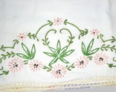 """Hemp Leaf Pink Flowers Vintage 1950s Hand Embroidered Cotton Pillow Case, approx 27"""" X 20"""" Hand Crochet Thread Lace Crocheted Edging Trim"""