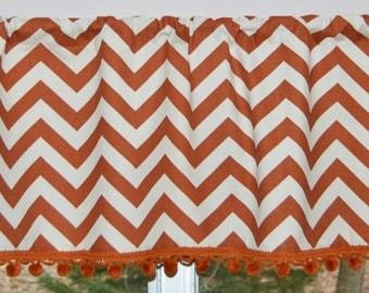 Kitchen Curtain / Valance . Copper Chevron Zig Zag . PomPom Trim . Copper .  Handmade by SeamsOriginal
