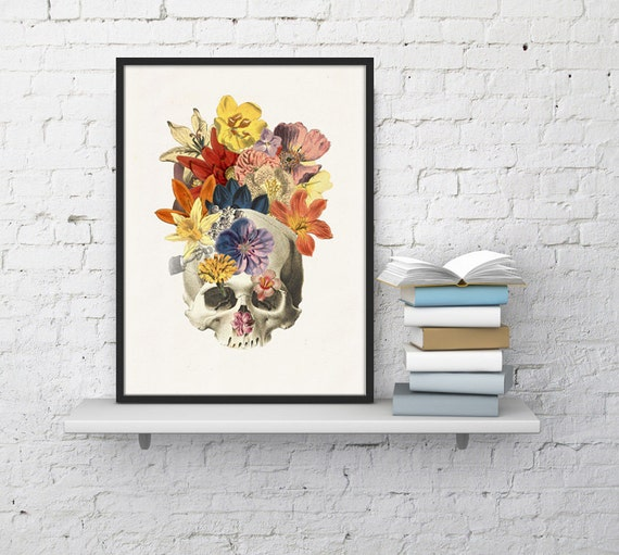 Spring Sale Human skull and flowers collage - Home decor prints wall art- docotrs gift -Anatomical skull- wall decor WSK011