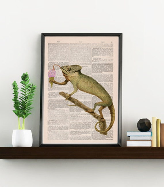 Spring Sale Funny Art print Chameleon licking an ice cream ball- Home decor,  Animal art printed on Vintage Book wall art BPAN223bX