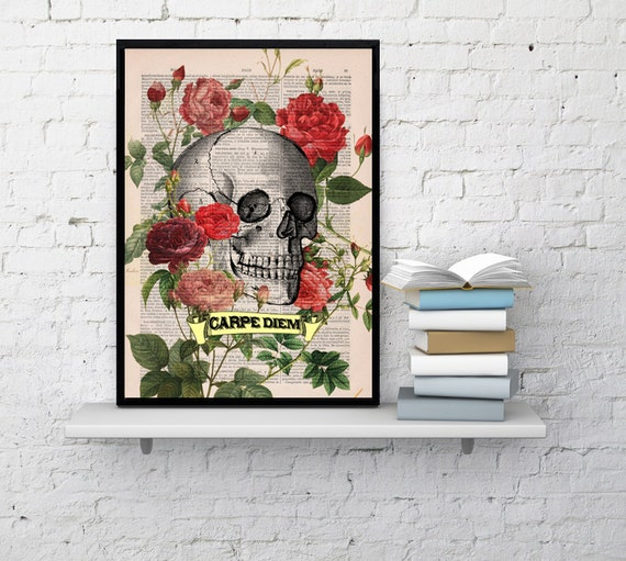 Spring Sale Decorative art, Roses Skull Tattoo CARPE DIEM quote, Skull Print. Skull &  roses gift him, boyfriend gift BPSK075