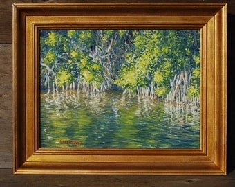 Original Oil Painting, Mangroves Along a Canal, Florida, Landscape Painting, Painting on Wood, Framed Painting