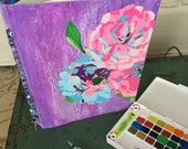 Plein Air Hand painted Abstract Pink Lavender and Blue  Roses Water color Artist Blank Book and writter's journal