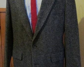 Vintage Mens Tweed Jacket/Mens Tweed Blazer Size 42/ Blue Herringbone Tweed Sport Coat Size 42 Tie Early 60ts Included