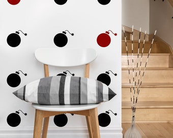 Bomb Pattern | Vinyl Wall Sticker,  Decal Art | Set of 50 bombs, 4-inch wide
