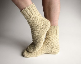 EU Size 40-43 - Undyed Unbleached White Hand Knitted Woolen Men Socks - 100% Natural Organic Clothing