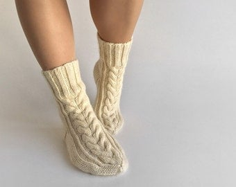 Hand Knitted Braided Cable Women's Socks - 100 % Natural Organic Woolen Eco Clothing - Unbleached White