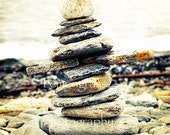 Stone Sculpture, Nature, Photography Print, 8x10 + More Sizes, Rocks, Stacks, Maine Coast, Beach, Ocean Themes, Wall Art, Home Decor