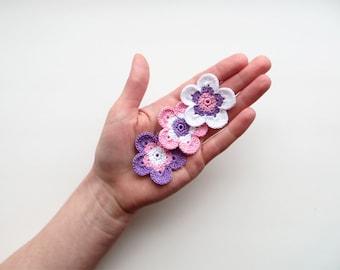 Crochet Flower Appliques, GIANT Flower, Color Mix, Dreamy Purple, Pale Pink, Snow White, Large Flower Motif, PALM SIZED Bloom, Set of 3