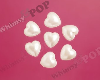 50 - White Pearl Heart Flatback Resin Decoden Cabochons, Pearl Heart Cabochon, 10mm (R8-077)