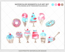 Watercolor Dessert Clip Art, Ice Cream Clip Art, Cupcakes Clip Art, Digital Watercolor Food Clipart, Pink Purple  Candy Sweets, Cake Baking