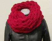 Red Chunky Arm Knit Scarf Snood Cowl