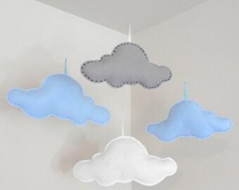 Floating Felt Clouds - Set of 4 Different Size Blue Grey White Felt Clouds