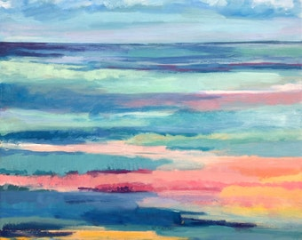 Original Oil Painting, Abstract Seascape - 16x16""