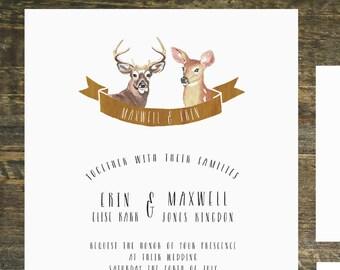 Printable Woodland Deer Wedding Invitation Suite   Wedding Invitation, Country Wedding Invitation, Wedding Invitation Set